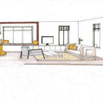 Perspectief tekening voor interieurontwerp modern woonhuis binnenhuisarchitectuur