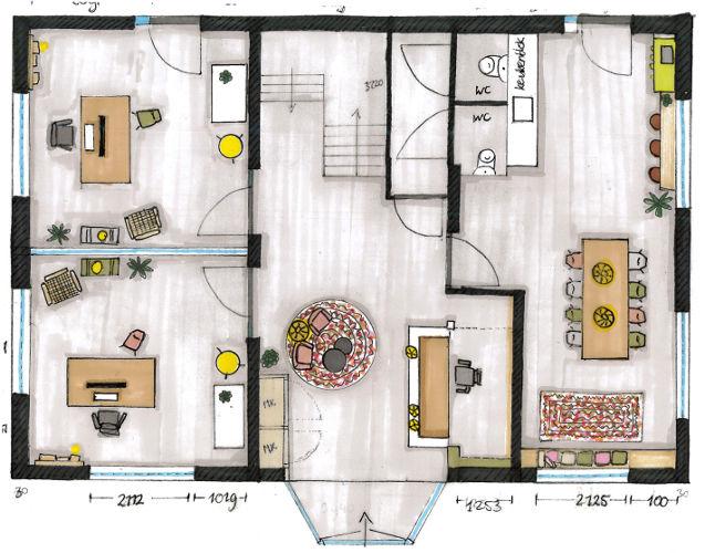 kantoorinrichting, kantoorontwerp, plattegrond, interieurtekening, verbouwing kantoor, interieuradvies, interieurontwerp
