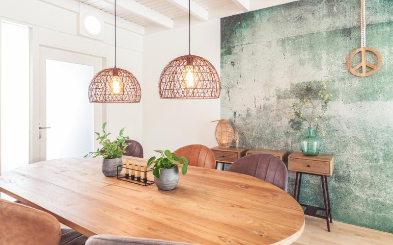 Etkamer interieurontwerp Huissen Eijffinger behang groen