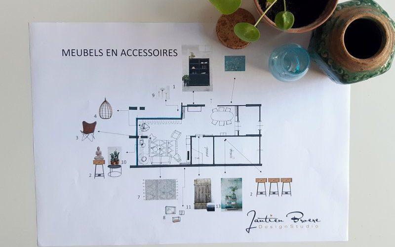 Tekening interieurplan bungalow in Huissen met meubels en accssoires