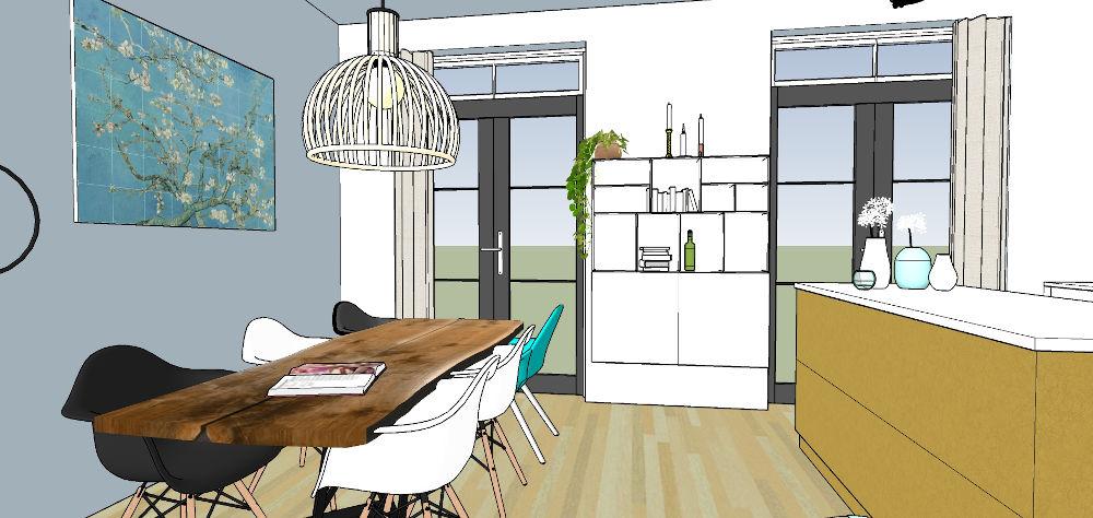 3d beelden, interieur, sketchup, woonkeuken, nijmegen