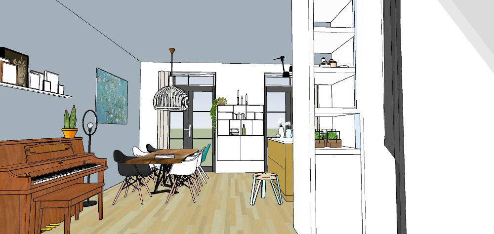 3d beelden, interieur, sketchup, woonkeuken, maatwerkkast,, nijmegen