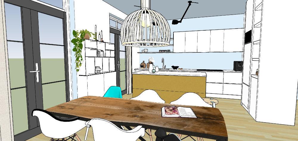 3d beelden, interieur, sketchup, woonkeuken, keukeontwerp,, nijmegen