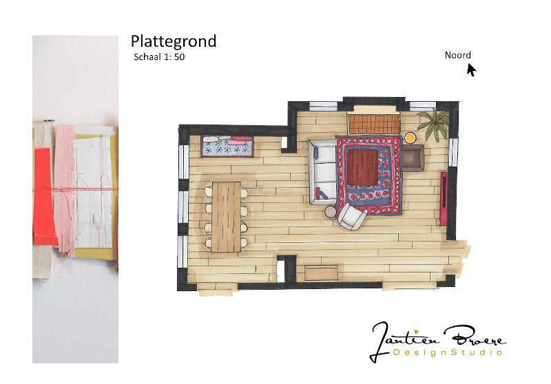 Plattegrond, kleur, interieurontwerp, interieurtekening, woonkamer, indelingsadvies, Heilig Landstichtinge