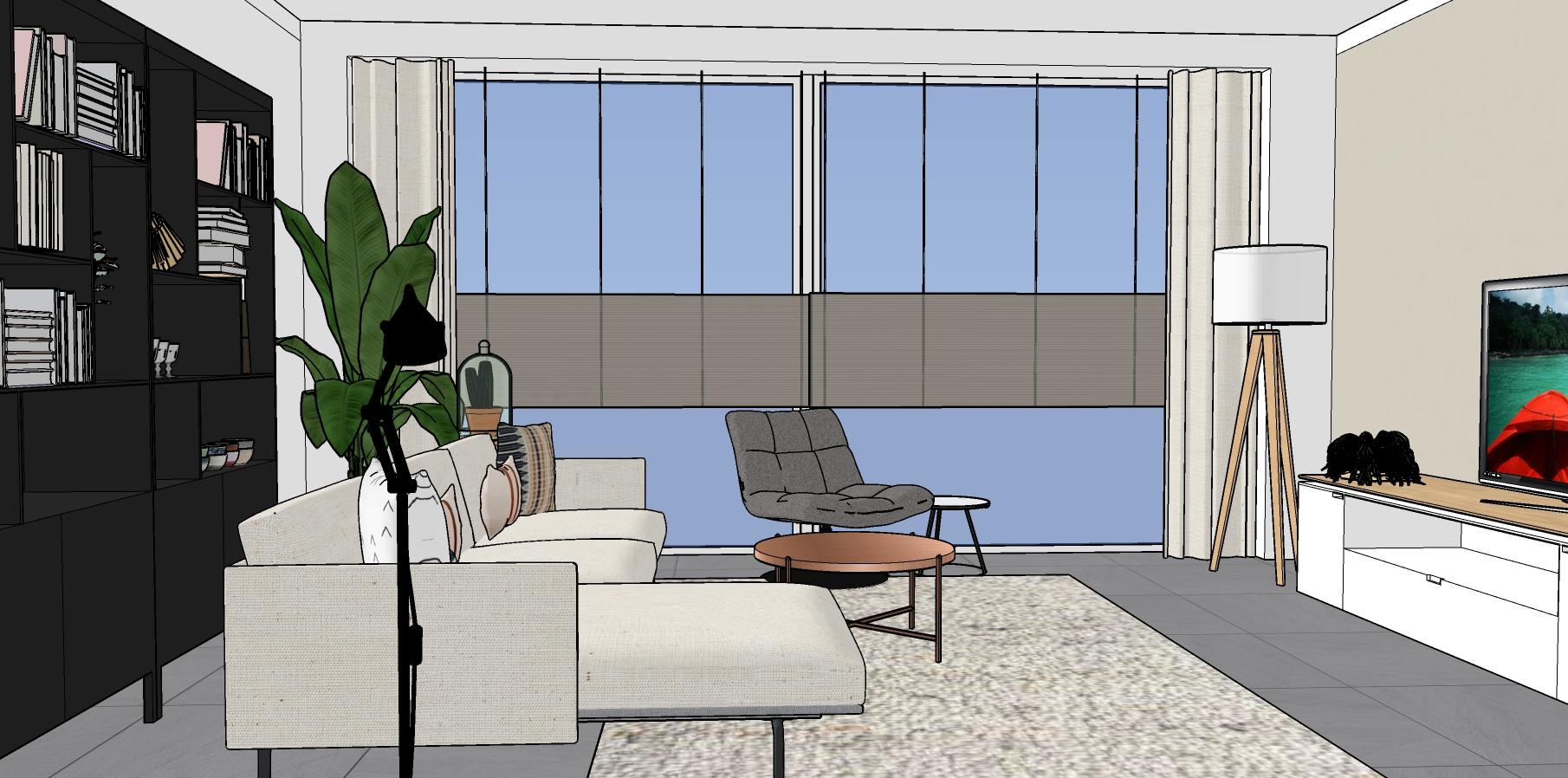 Interieur 3D ontwerp woonkamer met loungebank