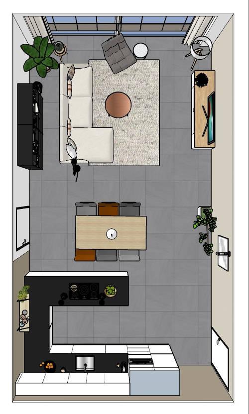 3d ontwerp interieuradvies appartement bovenaanzicht