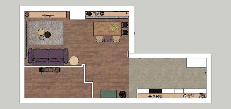 Interieurontwerp, indelingsplan, Loosdrecht, SketchUP ontwerp