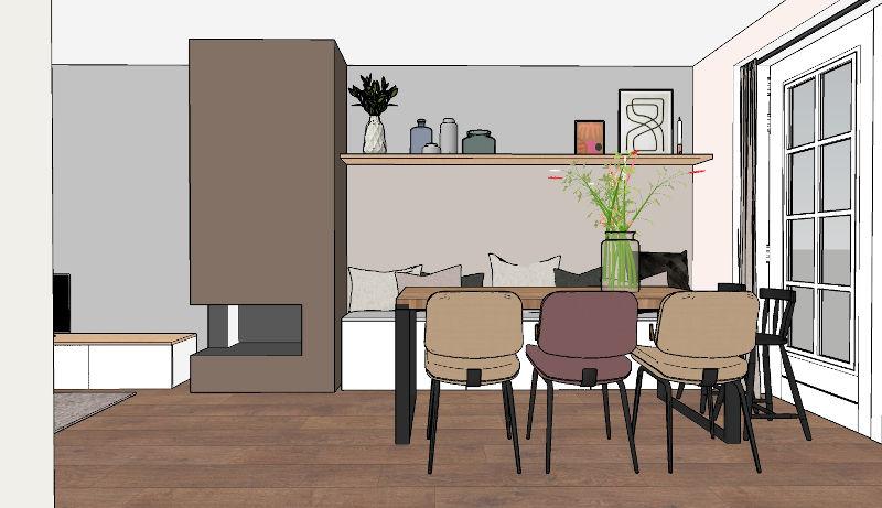 Interieurontwerp, indelingsplan, eetkamer, woonhuis, Loosdrecht, Ikea Hack, zitbank, eettafel, sketchup ontwerp