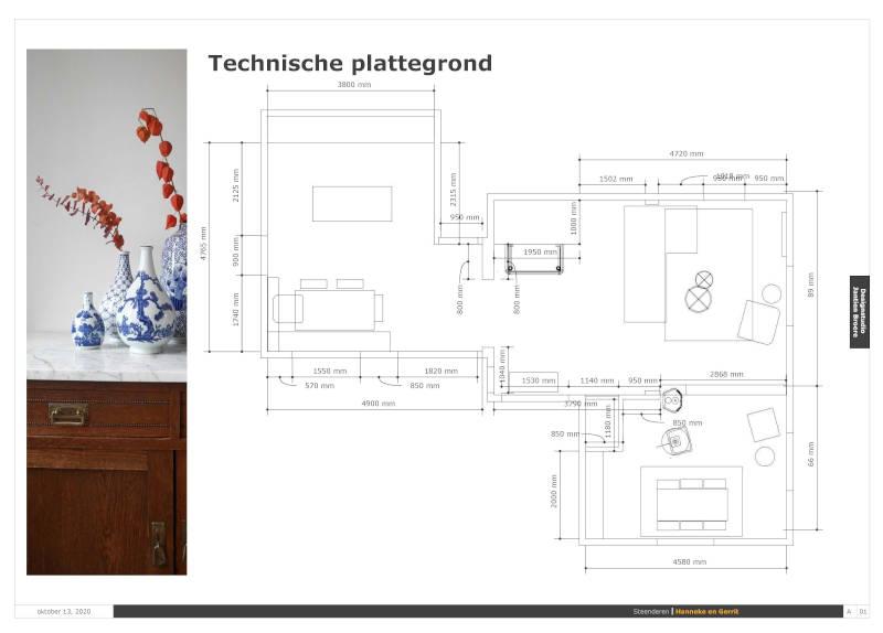 Technische plattegrond interieurontwerp woonboerderij Achterhoek
