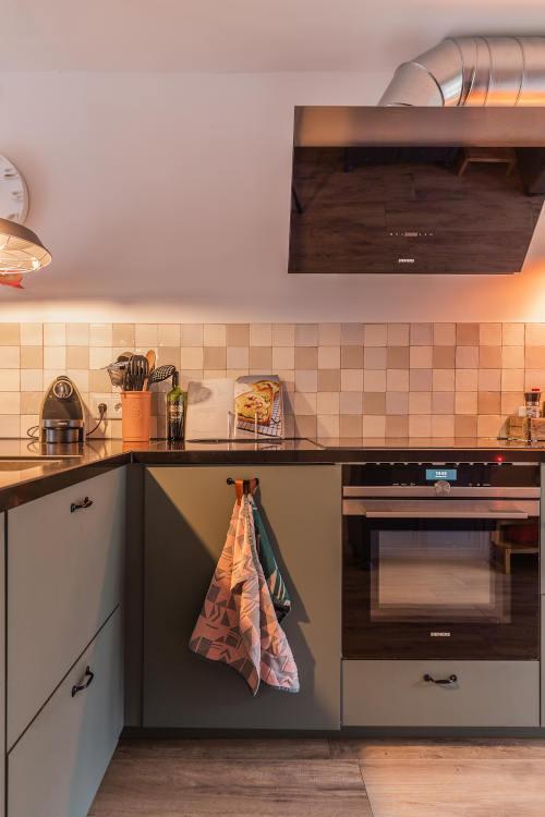 Woonkeuken, oude witjes, groene keuken, interieurontwerp keuken