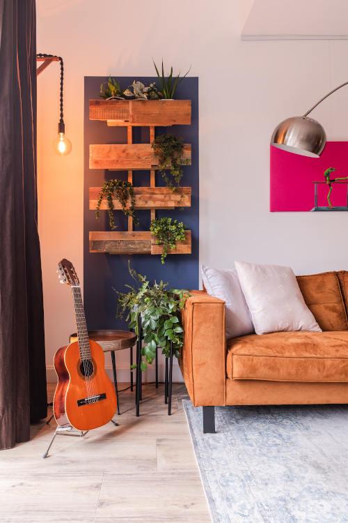 Interieurontwerp, woonkamer, Vleuten, planten, groen, hergebruik materiaal