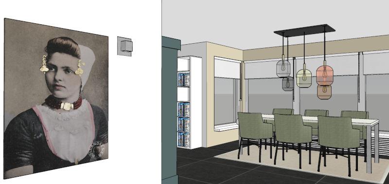 3D interieurontwerp woonhuis verbouwing interieurplan met hergebruik