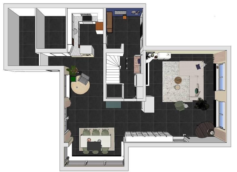 3D plattegrond, interieurontwerp, gelderland, woonhuis, restyling interieur, indelingsplan, 3d plattegrond