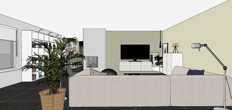 3D beeld, woonkamer, interieurplan, Bodilson Click bank, Tonone lamp, zeegras mand, Little Greene verf