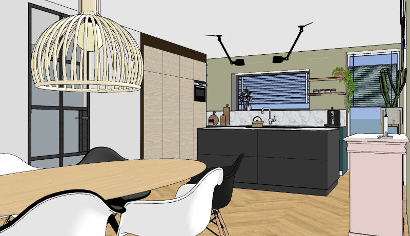3d interieurontwerp van nieuwbouw project in Wehl Gelderland met kookeiland ovale eettafel en maatwerkkasten