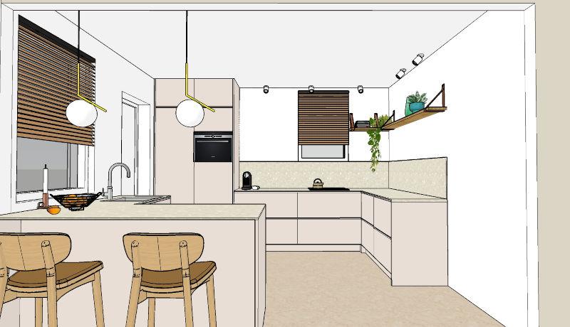 3D keukenontwerp verbouwing naar open keuken Dinxperlo